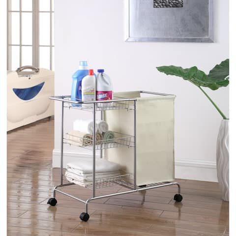 "Artiva USA 8808C Home Rolling Laundry Cart, 32""X15.75""X28.5""H, Silver/Grey - Silver"