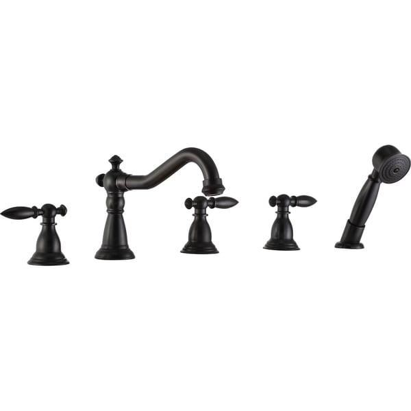 Shop anzzi patriarch 2 handle roman tub faucet with sprayer in oil anzzi patriarch 2 handle roman tub faucet with sprayer in oil rubbed bronze publicscrutiny Images