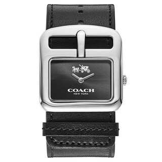 Coach Duffle Buckle Black Leather Women's Watch