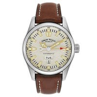 Armand Nicolet M02 Brown White Stitching Leather Men's Watch