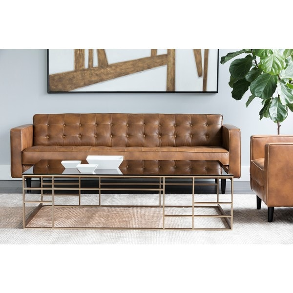 5West Donnie Faux Leather Button Tufted Sofa. Opens flyout.