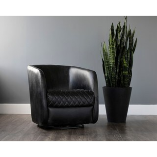Sunpan 5West Dax Faux Leather/Steel Swivel Club Chair