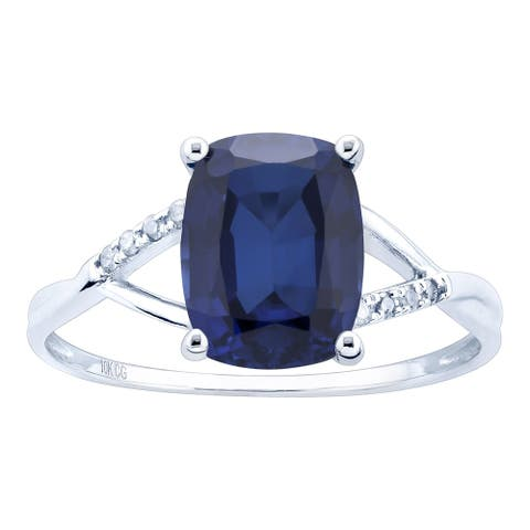 10K White Gold 3.07ct TW Sapphire and Diamond Ring - Blue