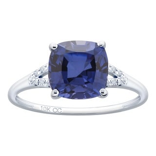 10K White Gold 3 31ct TW Tanzanite And Diamond Ring Purple