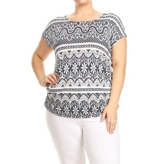 Women's Plus Size Embossed Pattern Print Tunic Top (3 options available)