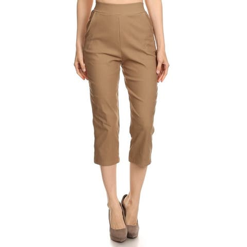 Solid/Printed Basic Slim Fitted Capri Formal Casual Pants