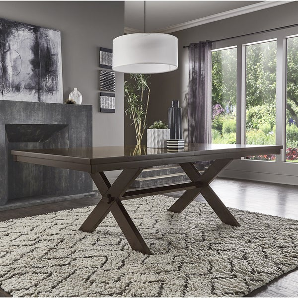 Louie Espresso X-Base Trestle Extendable Dining Table by iNSPIRE Q Classic