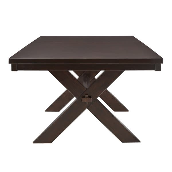 Louie Espresso X Base Trestle Extendable Dining Table By Inspire Q Classic Overstock 21832934