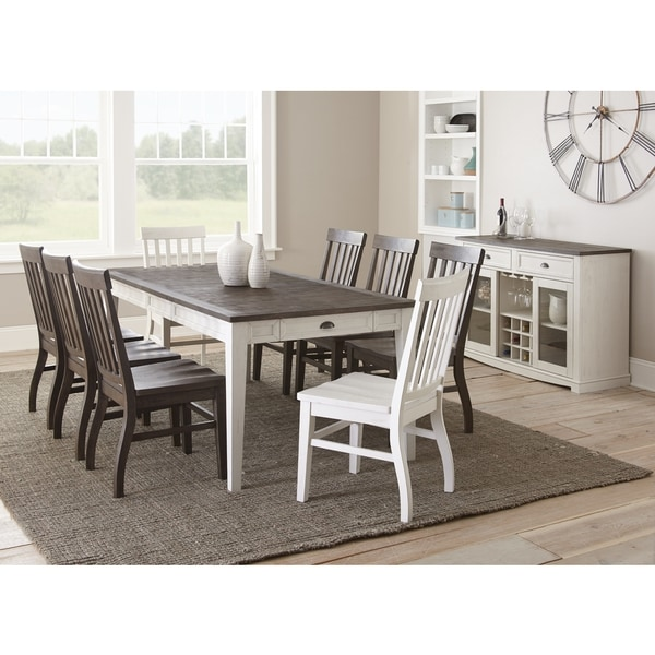 shop cottonville two tone farmhouse dining set by greyson living free shipping today. Black Bedroom Furniture Sets. Home Design Ideas