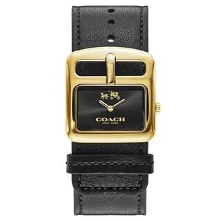 Coach Duffle Buckle Black Leather Women's Watch