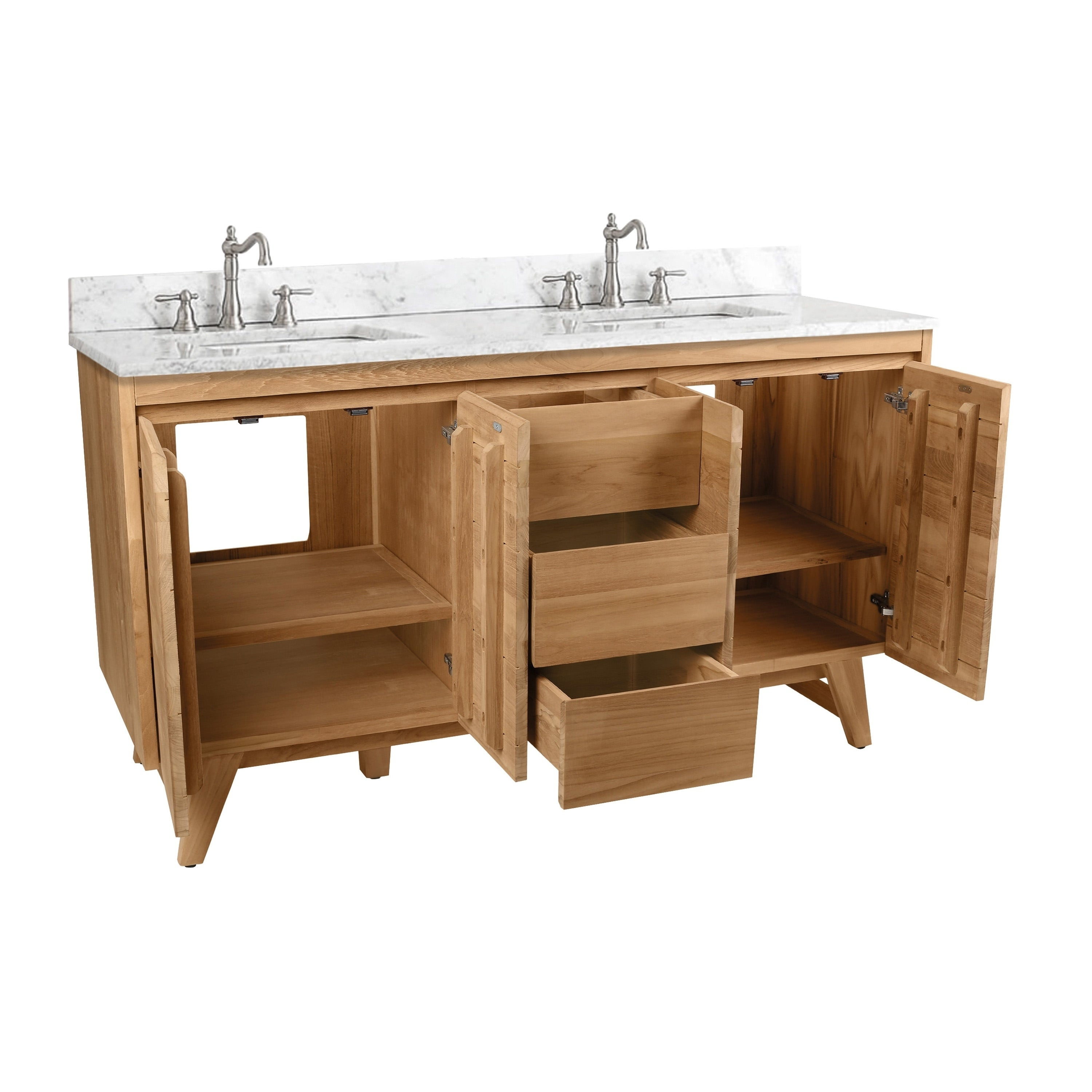 Avanity Coventry 61 In Vanity Combo With Carrera White Marble Top Overstock 21833675