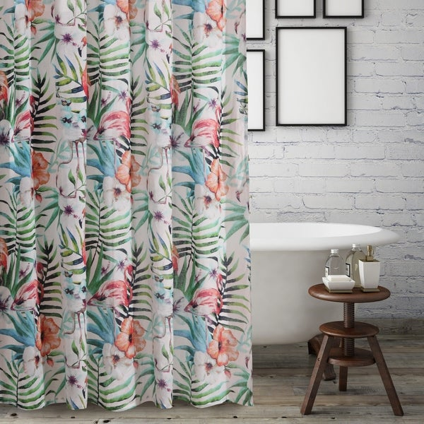 Barefoot Bungalow Flamingo Tropical Shower Curtain