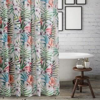 Barefoot Bungalow Flamingo Tropical Shower Curtain
