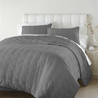 Boston 3 pieces Tufted Solid Reversible Cotton Soft-finished Quilt Set