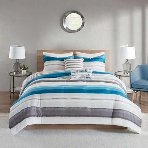 510 Design Ogdon Indigo 5 Piece Reversible Print Duvet Set