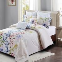 Style quarters-Dahlia Lane 7pc Comforter Set-cotton-Multi-Color Floral Stems with White Leafy Silhouettes-Machine Washable-King