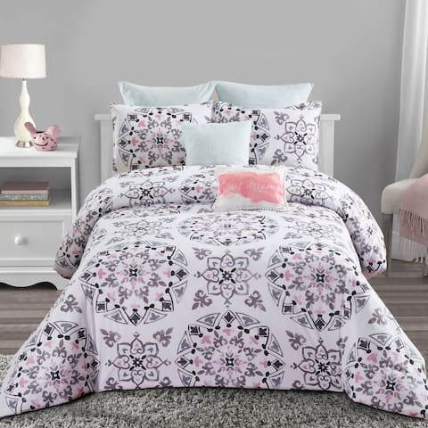 Style quarters-Callie Medallion 7pc Comforter Set-100% cotton-Black Gray and Pink Medallion Print - Machine Washable - King