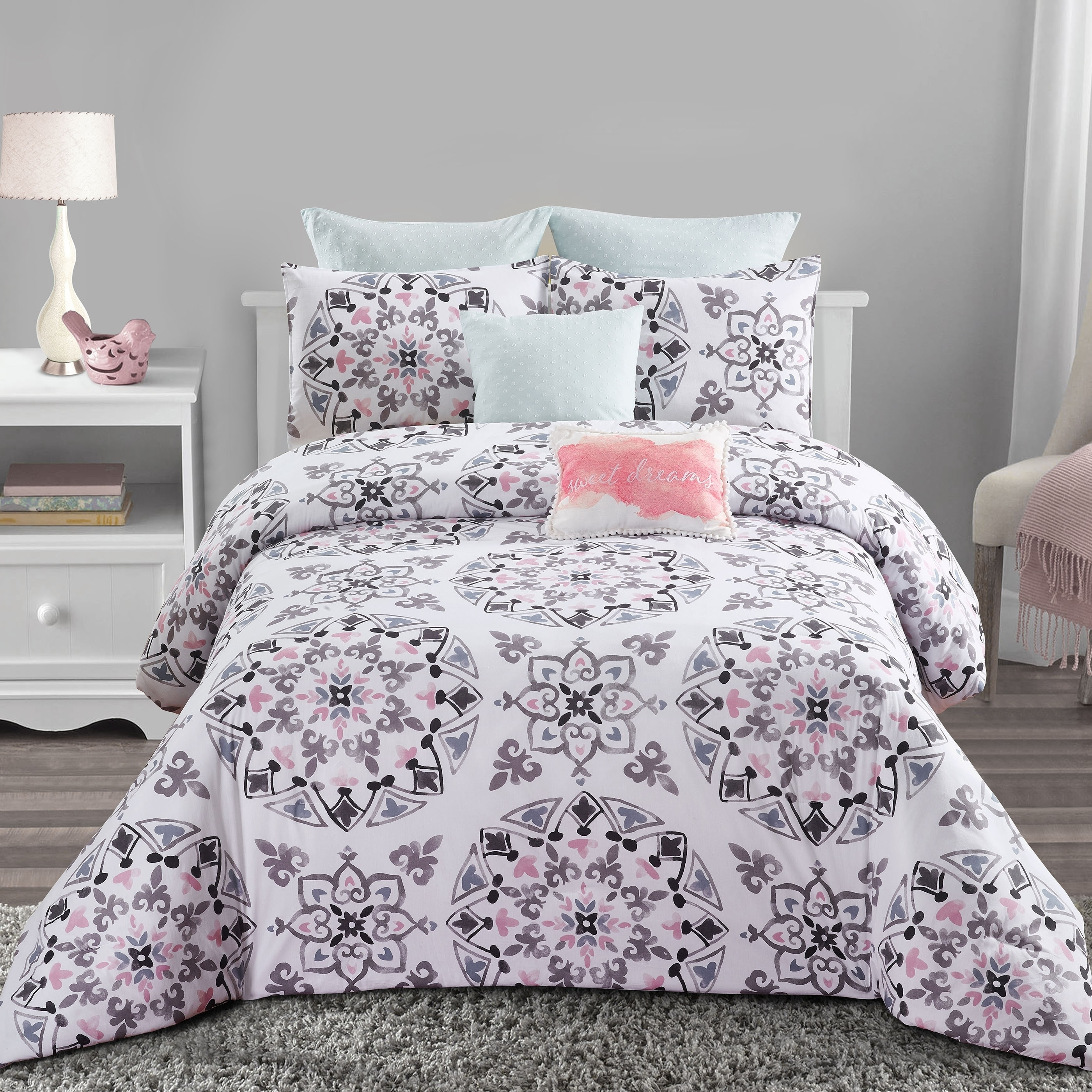 Style Quarters Callie Medallion 7pc Comforter Set 100 Cotton Black Gray And Pink Medallion Print Machine Washable King Overstock 21834834