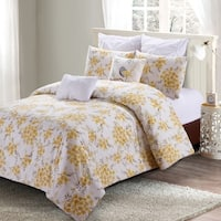 Style quarters-Savanah Floral 7pc Comfoter Set-100% cotton - Yellow Watercolor Savannah Floral Pattern -Machine Washable - King