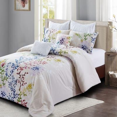 Style quarters-Dahlia Lane 7pc Comforter Set-cotton-Multi-Color Floral Stems with White Leafy Silhouettes-Machine Washable-Queen