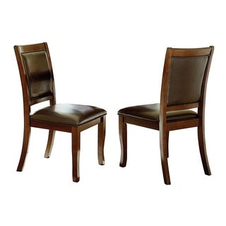 Wood & Leather Dining Side Chairs, Cherry Brown & Brown  (Set Of 2)