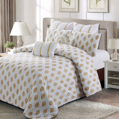 Style quarters-Gold Leaf 7pc Comforter Set-100% cotton - Abstract Gold Leaves Pattern - Machine Washable - Queen