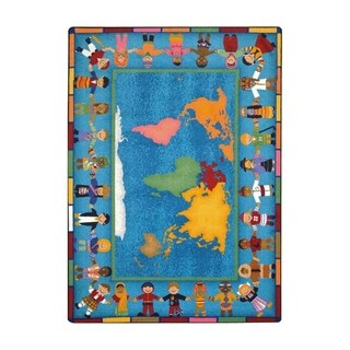 "Joy Carpets 7'8"" x 10'9"" Kid Essentials Early Childhood Hands Around the World Rectangular Rug - Multi"
