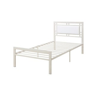 Metal Frame Full Bed With Leather Upholstered Headboard White