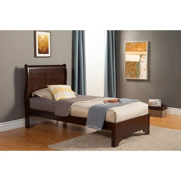 size 40 df43d 4a159 Twin Size Low Footboard Sleigh Bed In Rubberwood Brown