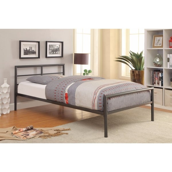 Traditional Styled Twin Size Bed with Sleek Lines, Gray