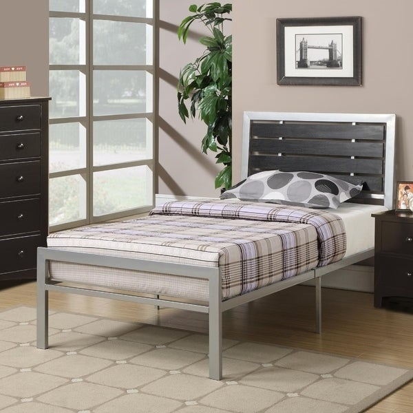 Metal Twin Size Bed With Wood Panel Headboard Silver & Black