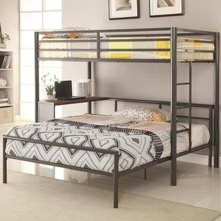 Highly Purposeful Metal Twin Loft Bed, Dark Gunmetal