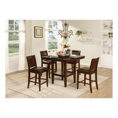 Modern Transitional Style Wooden Counter Height Set, Cherry Brown, Set of 5