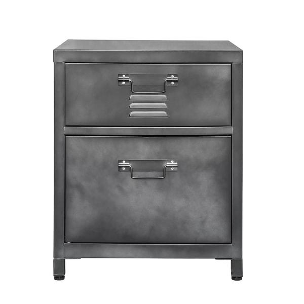 2 Drawer Steel Locker Style Nightstand