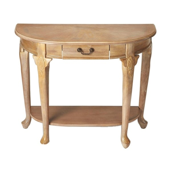 Offex Kimball Solid Driftwood Demilune Console Table