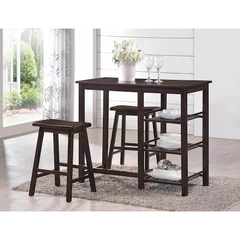 Spacious Counter Height Set, Walnut Brown, 3 Piece Pack