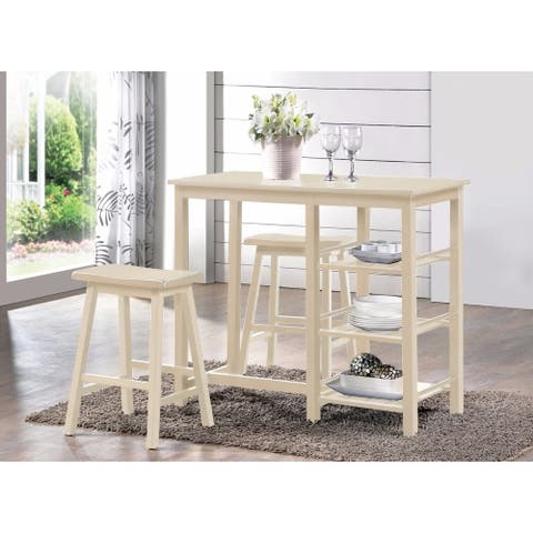 Spacious Counter Height Set, White, 3 Piece Pack