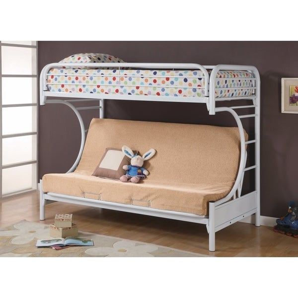 Shop Contemporary Style Twin Over Futon Bunk Bed White Free