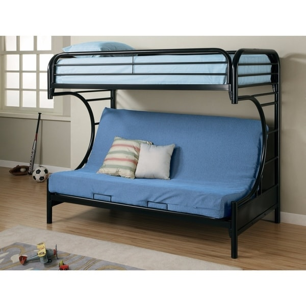 Shop Casual Style Twin Over Futon Bunk Bed Black Free Shipping