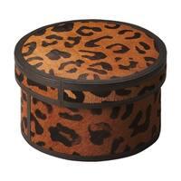 """Offex Nikita Leather Round Storage Box - 5""""H"""