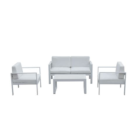 Engagingly Outstanding Outdoor Lounge Set In White (Set of 4)
