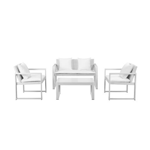 Faultlessly Stylish Outdoor Lounge Set In White (Set of 4)