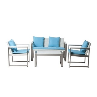 Phenomenal And Vibrant Outdoor Lounge Set In White/Turquoise (Set of 4)