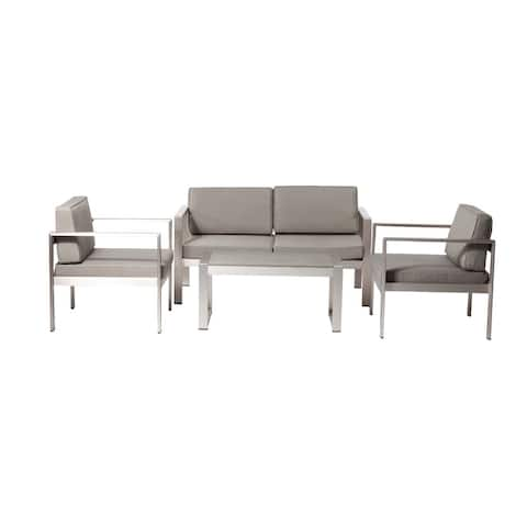 Enchanting And Modish Outdoor Lounge Set In Taupe (Set of 4)