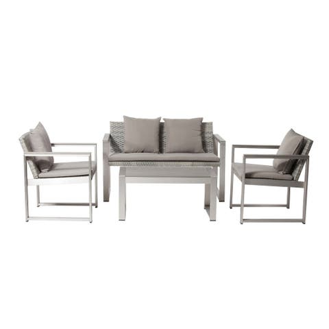 Impressively Stylish Outdoor Lounge Set In Gray/ Taupe (Set of 4)