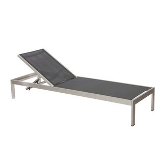 Anodized Aluminum Modern Patio Lounger In Black