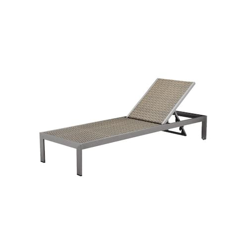 Blissful Sleek Anodized Aluminum Modern Lounger with Wheels, Brown