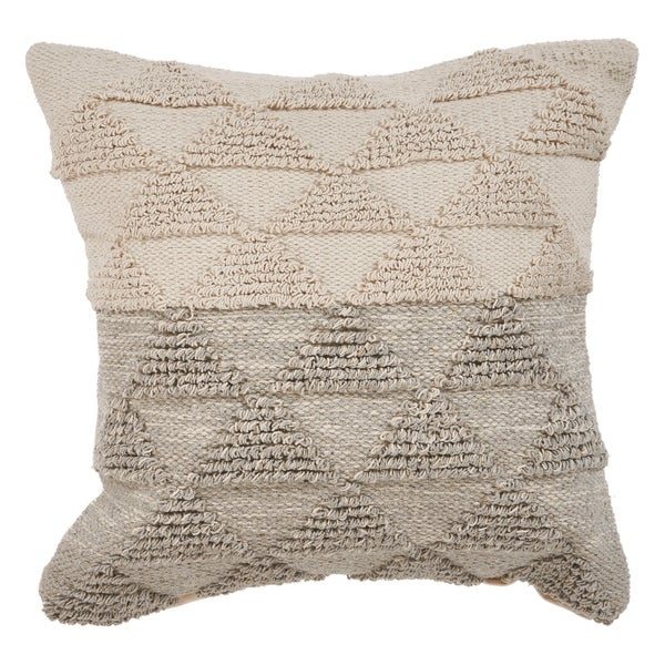 LR Home Gray Gradient Natural Cotton Throw Pillow 18 inch