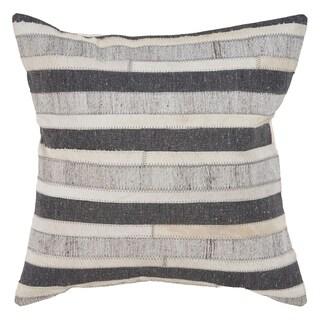 "LR Home Stripe Charcoal/Beige Indoor Throw Pillow ( 20"" x 20"" )"
