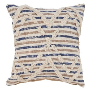 LR Home Textured Blue Natural Stripe Throw Pillow 18 inch
